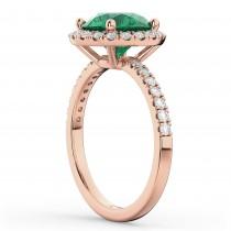 Halo Emerald & Diamond Engagement Ring 18K Rose Gold 2.80ct