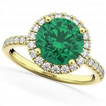 Halo Emerald & Diamond Engagement Ring 18K Yellow Gold 2.80ct