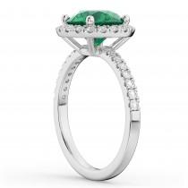 Halo Emerald & Diamond Engagement Ring Platinum 2.80ct