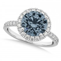 Halo Gray Spinel & Diamond Engagement Ring 18K White Gold 1.90ct