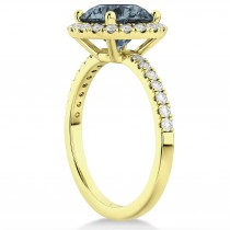 Halo Gray Spinel & Diamond Engagement Ring 18K Yellow Gold 1.90ct
