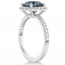 Halo Gray Spinel & Diamond Engagement Ring Palladium 1.90ct