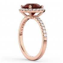 Halo Garnet & Diamond Engagement Ring 14K Rose Gold 3.00ct