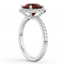 Halo Garnet & Diamond Engagement Ring 14K White Gold 3.00ct