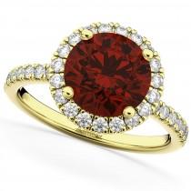 Halo Garnet & Diamond Engagement Ring 18K Yellow Gold 3.00ct