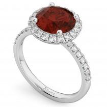Halo Garnet & Diamond Engagement Ring Palladium 3.00ct