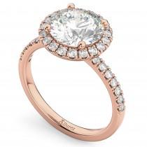 Round Halo Lab Grown Diamond Engagement Ring 18K Rose Gold (2.50ct)