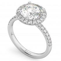 Round Halo Lab Grown Diamond Engagement Ring 18K White Gold (2.50ct)