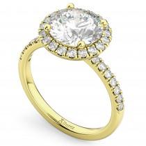 Round Halo Lab Grown Diamond Engagement Ring 18K Yellow Gold (2.50ct)