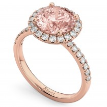 Halo Morganite & Diamond Engagement Ring 14K Rose Gold 2.25ct