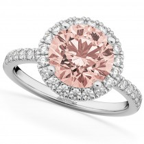 Halo Morganite & Diamond Engagement Ring 14K White Gold 2.25ct