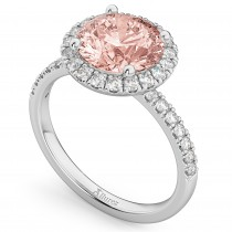 Halo Morganite & Diamond Engagement Ring 14K White Gold 2.25ct