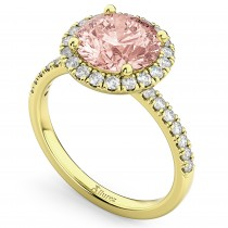 Halo Morganite & Diamond Engagement Ring 14K Yellow Gold 2.25ct