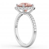 Halo Morganite & Diamond Engagement Ring Palladium 2.25ct