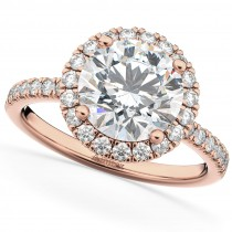 Halo Moissanite & Diamond Engagement Ring 14K Rose Gold 2.10ct
