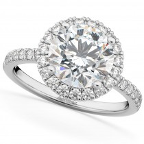 Halo Moissanite & Diamond Engagement Ring 14K White Gold 2.10ct