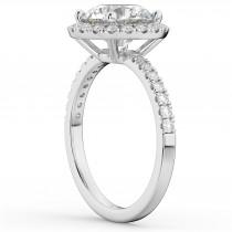 Halo Moissanite & Diamond Engagement Ring 14K White Gold 2.10ct