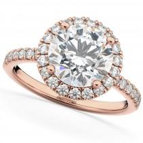 Halo Moissanite & Diamond Engagement Ring 18K Rose Gold 2.10ct