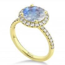 Halo Moonstone & Diamond Engagement Ring 18K Yellow Gold 2.90ct