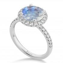 Halo Moonstone & Diamond Engagement Ring Platinum 2.90ct