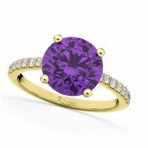Amethyst & Diamond Engagement Ring 14K Yellow Gold 2.01ct