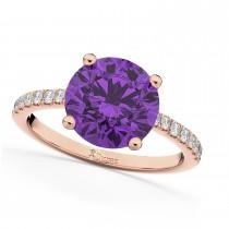 Amethyst & Diamond Engagement Ring 18K Rose Gold 2.01ct