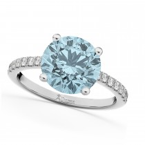 Aquamarine & Diamond Engagement Ring 14K White Gold 2.41ct
