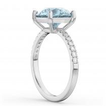 Aquamarine & Diamond Engagement Ring 18K White Gold 2.41ct