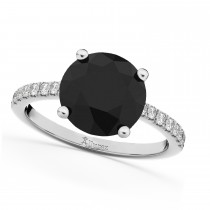 White & Black Diamond Engagement Ring 14K White Gold (2.21ct)