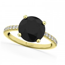 White & Black Diamond Engagement Ring 14K Yellow Gold (2.21ct)