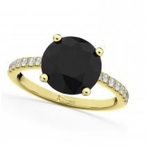White & Black Diamond Engagement Ring 18K Yellow Gold (2.21ct)