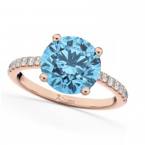 Blue Topaz & Diamond Engagement Ring 14K Rose Gold 2.71ct