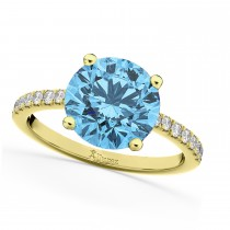 Blue Topaz & Diamond Engagement Ring 14K Yellow Gold 2.71ct