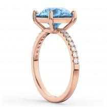 Blue Topaz & Diamond Engagement Ring 18K Rose Gold 2.71ct