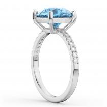 Blue Topaz & Diamond Engagement Ring 18K White Gold 2.71ct