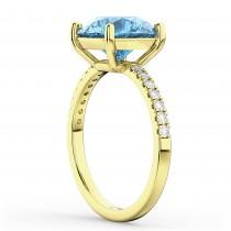 Blue Topaz & Diamond Engagement Ring 18K Yellow Gold 2.71ct