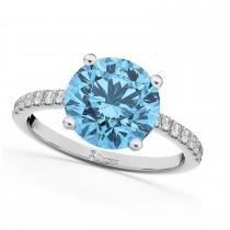 Blue Topaz & Diamond Engagement Ring Platinum 2.71ct