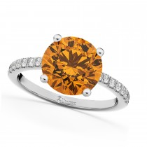 Citrine & Diamond Engagement Ring 14K White Gold 2.01ct