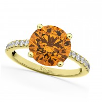 Citrine & Diamond Engagement Ring 14K Yellow Gold 2.01ct