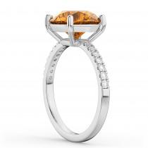 Citrine & Diamond Engagement Ring 18K White Gold 2.01ct