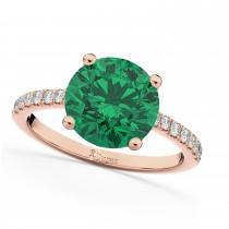 Emerald & Diamond Engagement Ring 14K Rose Gold 2.51ct
