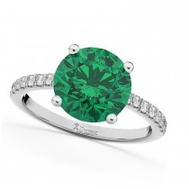Emerald & Diamond Engagement Ring 14K White Gold 2.51ct