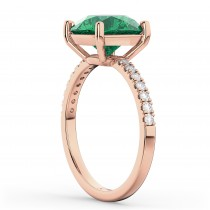 Emerald & Diamond Engagement Ring 18K Rose Gold 2.51ct