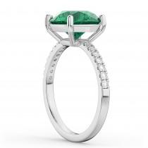 Emerald & Diamond Engagement Ring 18K White Gold 2.51ct