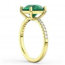 Emerald & Diamond Engagement Ring 18K Yellow Gold 2.51ct