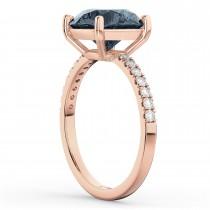Gray Spinel & Diamond Engagement Ring 14K Rose Gold 2.01ct