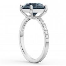 Gray Spinel & Diamond Engagement Ring 14K White Gold 2.01ct