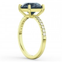 Gray Spinel & Diamond Engagement Ring 18K Yellow Gold 2.01ct