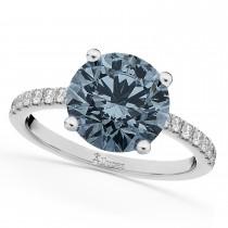 Gray Spinel & Diamond Engagement Ring Palladium 2.01ct