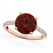 Garnet & Diamond Engagement Ring 14K Rose Gold 2.71ct